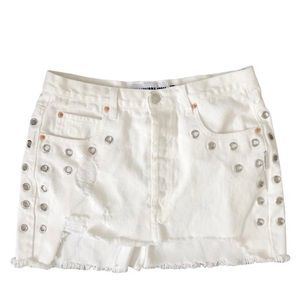 The Laundry Room white jean denim skirt distressed